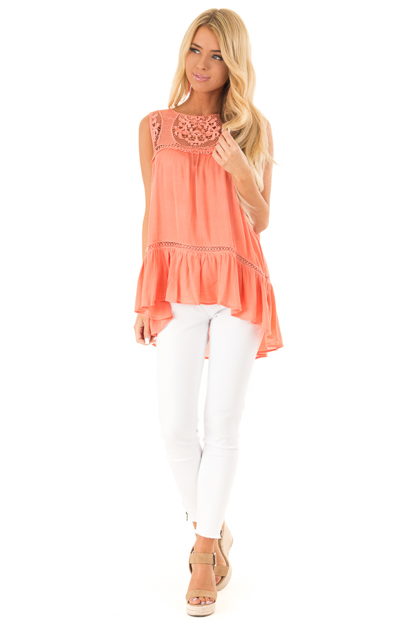 Coral Sleeveless Top with Sheer Crochet Details front full body