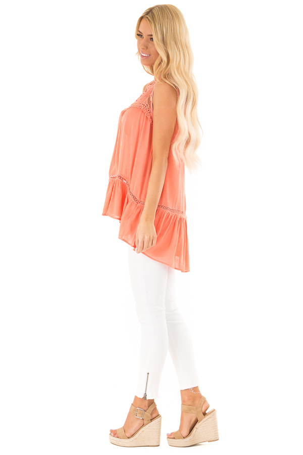 Coral Sleeveless Top with Sheer Crochet Details side full body