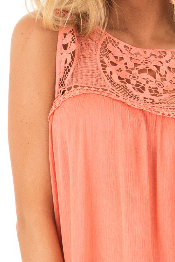 Coral Sleeveless Top with Sheer Crochet Details detail