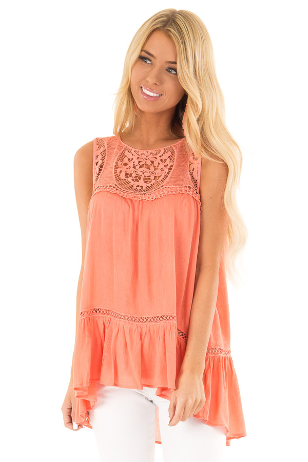 Coral Sleeveless Top with Sheer Crochet Details front close up