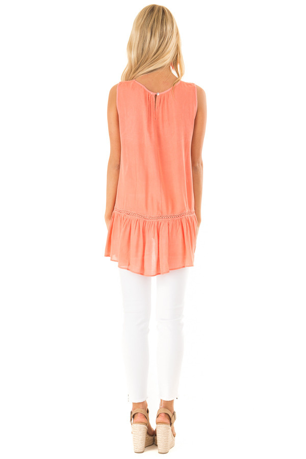 Coral Sleeveless Top with Sheer Crochet Details back full body
