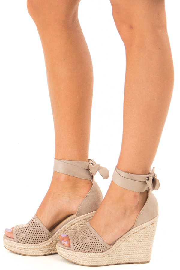 Taupe Suede Wedge with Braided Heel Detail side view