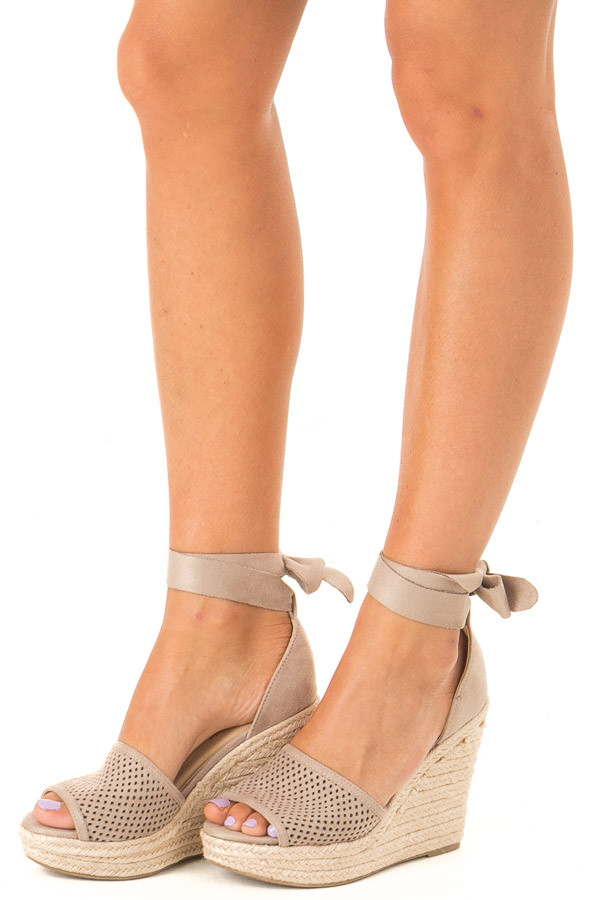 Taupe Suede Wedge with Braided Heel Detail front side view