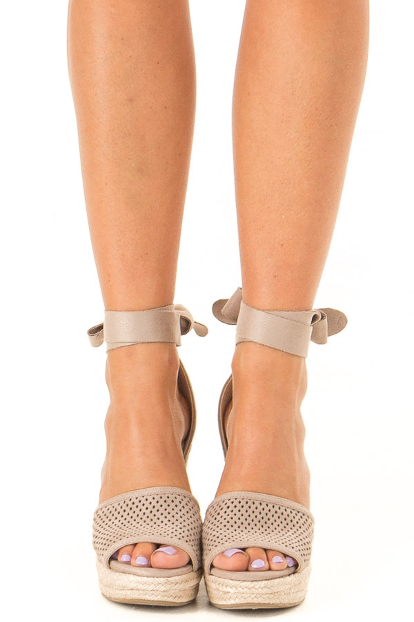 Taupe Suede Wedge with Braided Heel Detail front view