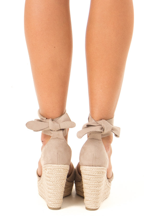 Taupe Suede Wedge with Braided Heel Detail back view