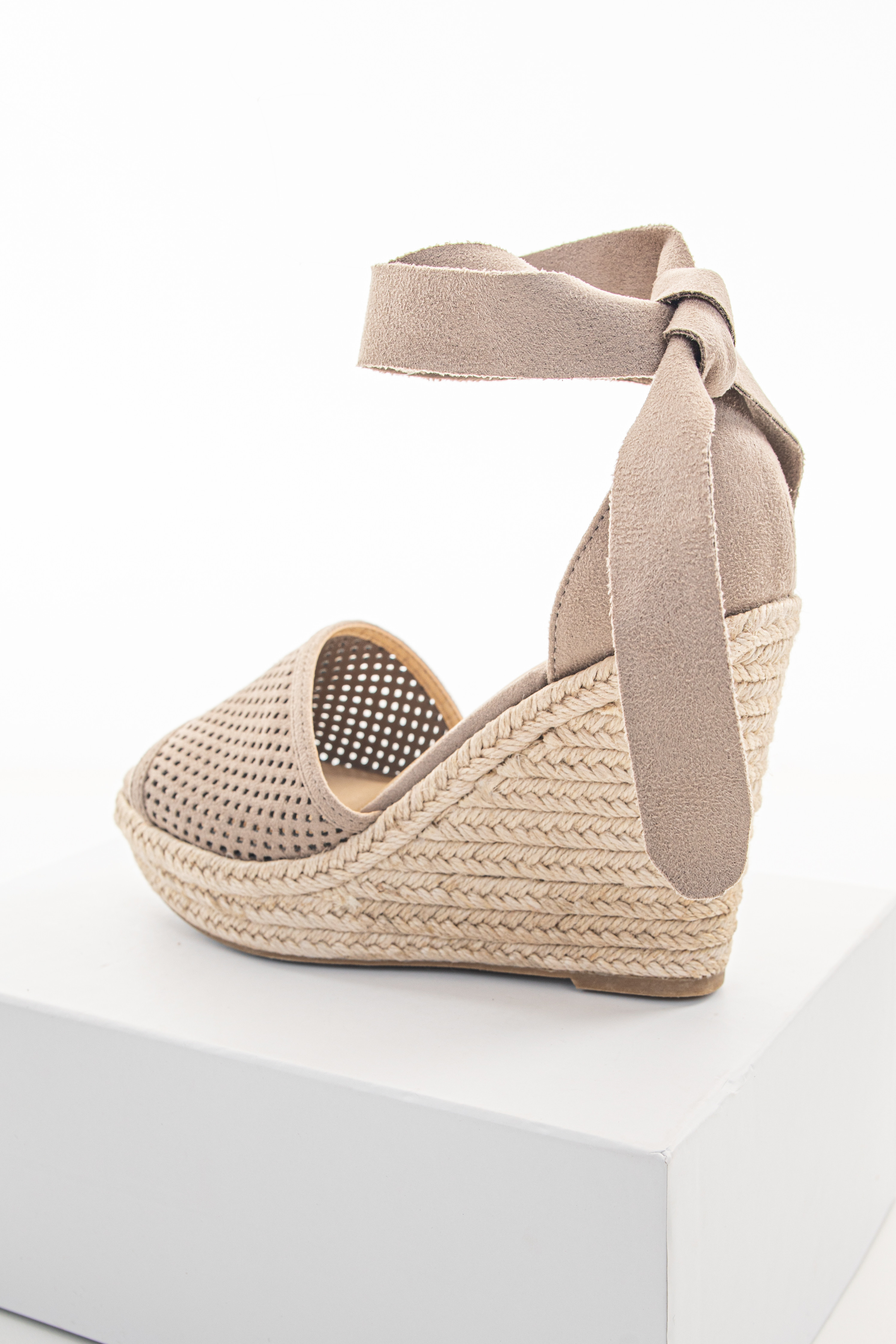 Taupe Suede Wedge with Braided Heel Detail