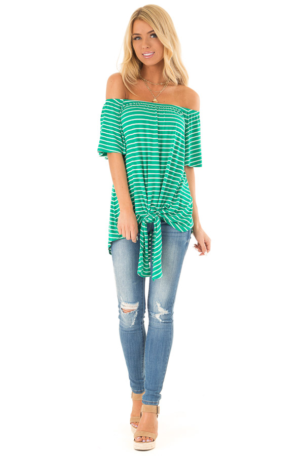 Shamrock Green Striped Off the Shoulder Top with Front Tie front full body