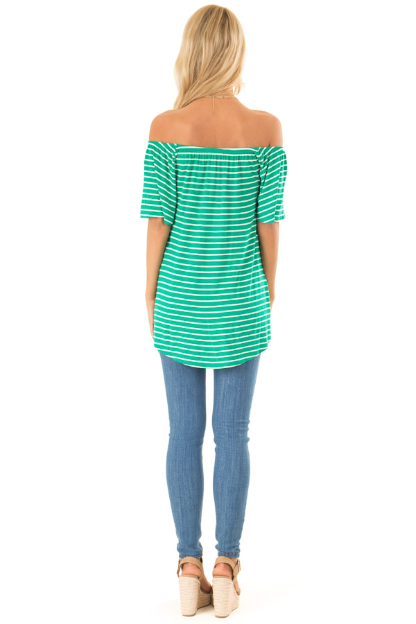 Shamrock Green Striped Off the Shoulder Top with Front Tie back full body