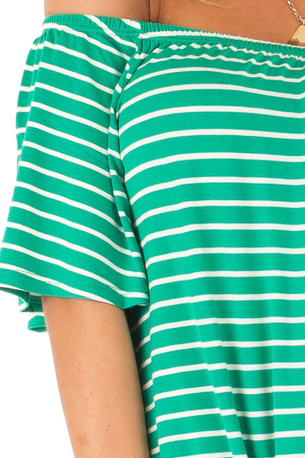 Shamrock Green Striped Off the Shoulder Top with Front Tie detail