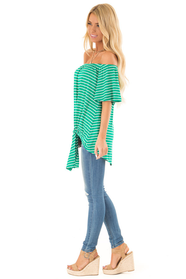 Shamrock Green Striped Off the Shoulder Top with Front Tie side full body