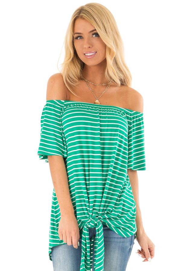 Shamrock Green Striped Off the Shoulder Top with Front Tie front close up
