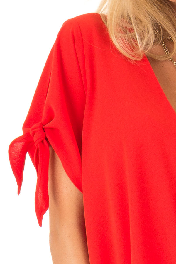 Candy Apple Red Surplice Short Sleeve Top with Tie Details detail