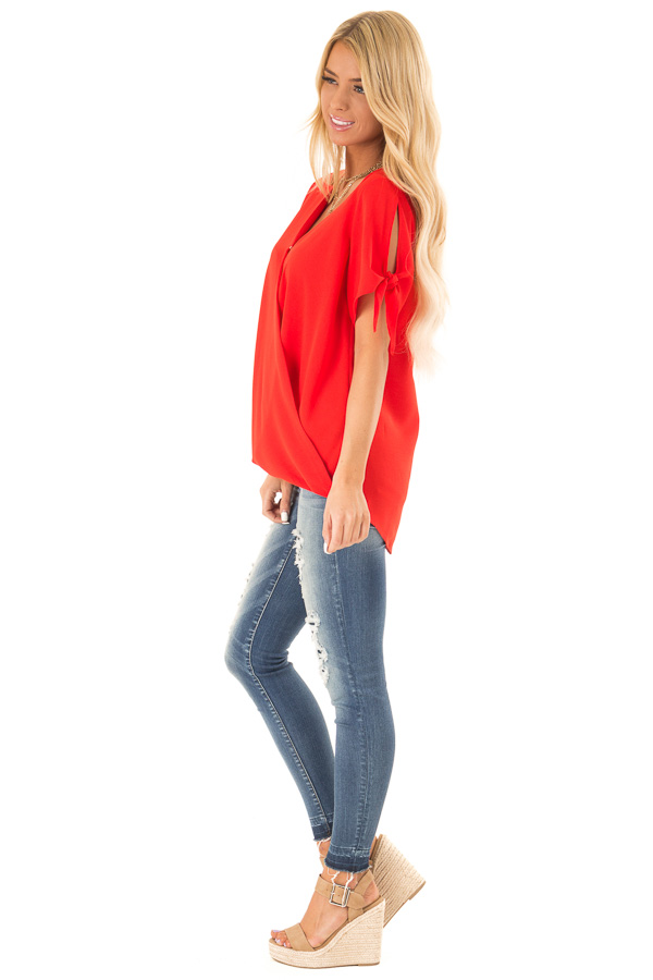 Candy Apple Red Surplice Short Sleeve Top with Tie Details side full body