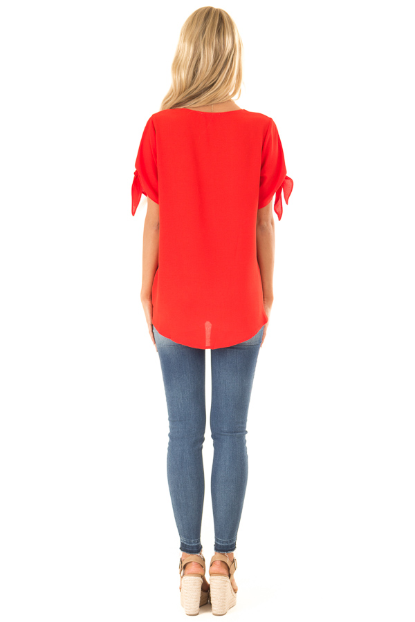 Candy Apple Red Surplice Short Sleeve Top with Tie Details back full body