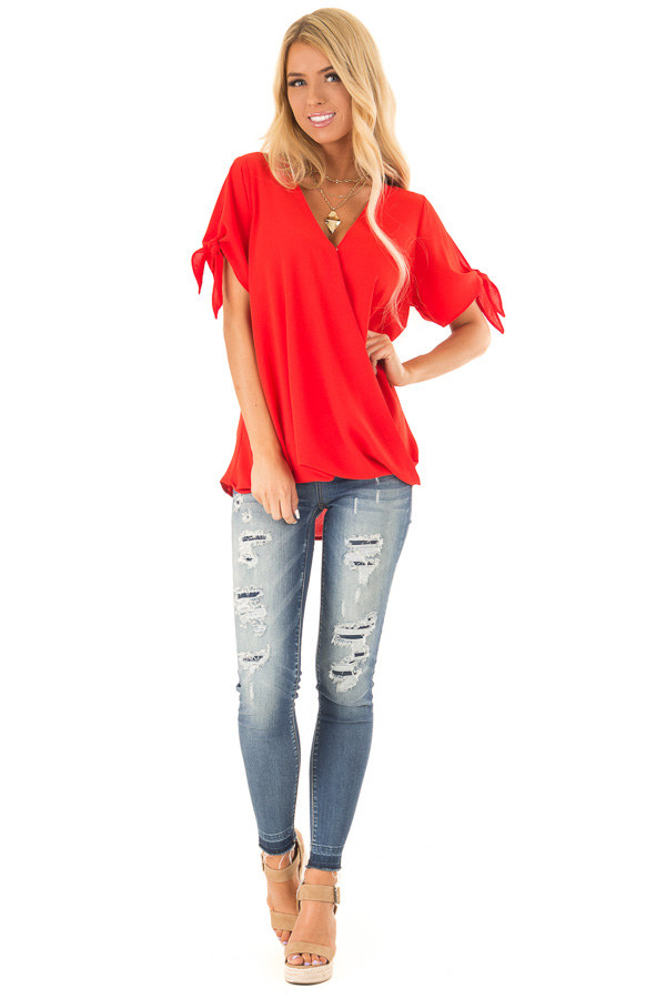 Candy Apple Red Surplice Short Sleeve Top with Tie Details front full body