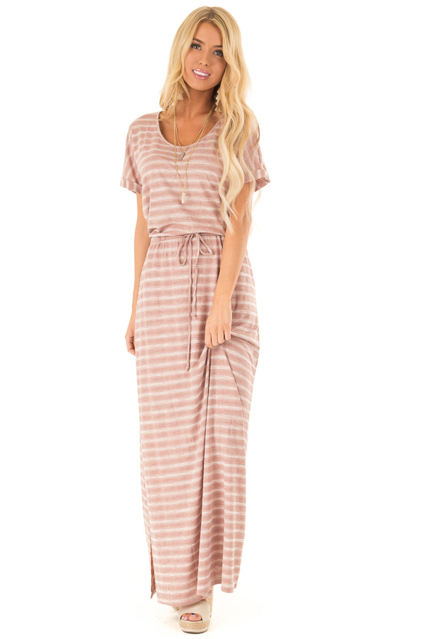 Dusty Mauve Striped Maxi Dress with Pockets and Side Slit front full body