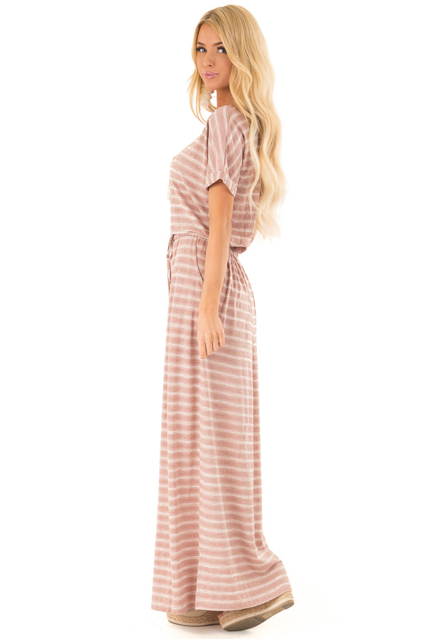 Dusty Mauve Striped Maxi Dress with Pockets and Side Slit side full body