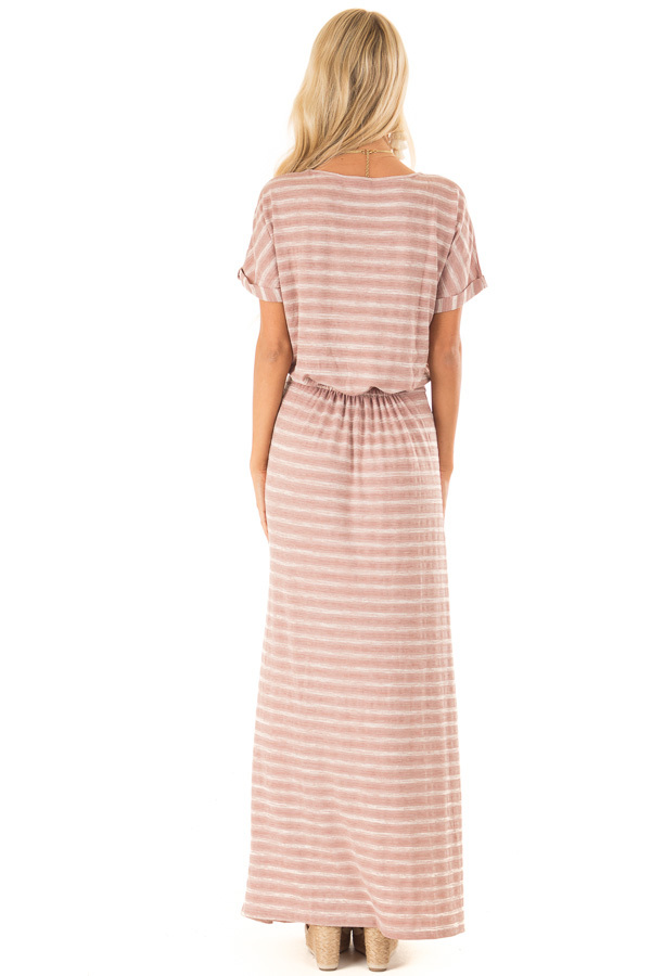Dusty Mauve Striped Maxi Dress with Pockets and Side Slit back full body