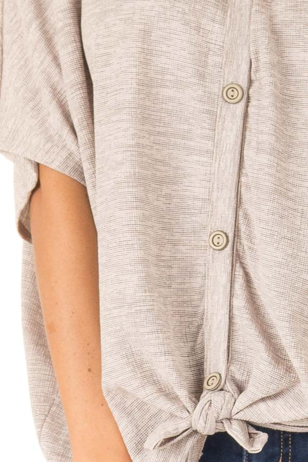 Beige and Mocha Two Tone Button Up Top with Front Tie detail