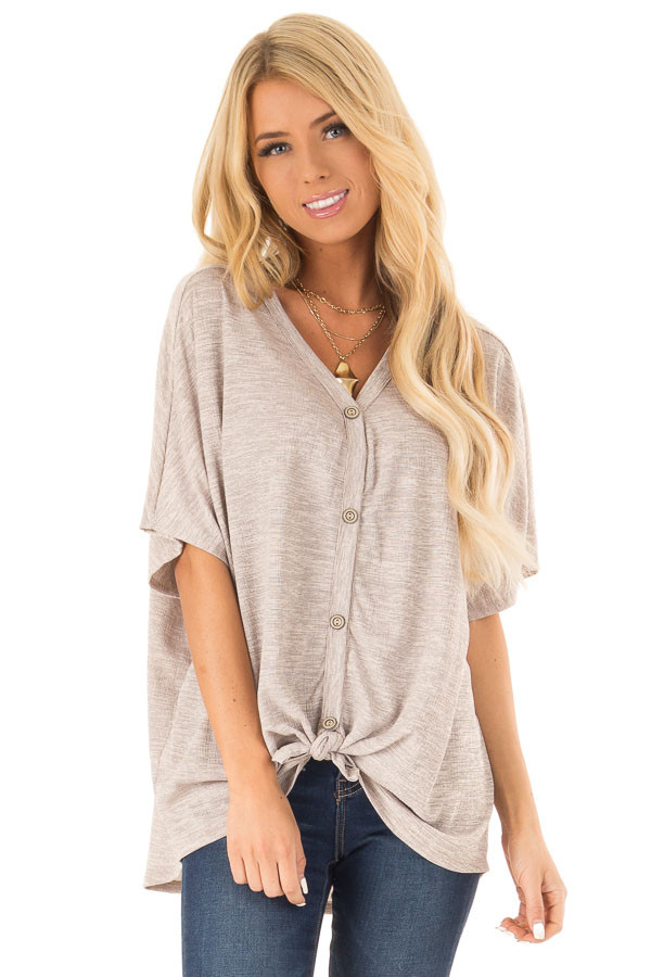 Beige and Mocha Two Tone Button Up Top with Front Tie front full body