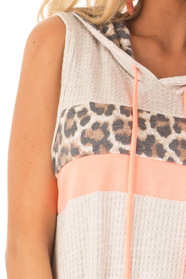 Oatmeal and Coral Hooded Tank Top with Leopard Contrast detail