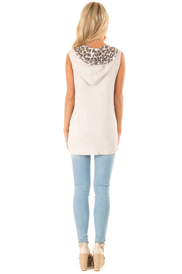 Oatmeal and Coral Hooded Tank Top with Leopard Contrast back full body