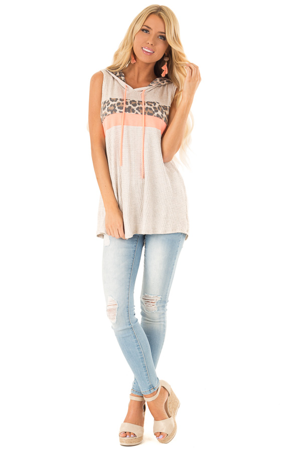 Oatmeal and Coral Hooded Tank Top with Leopard Contrast front full body