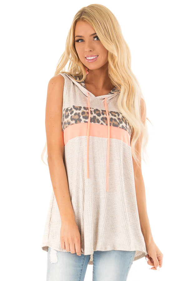 Oatmeal and Coral Hooded Tank Top with Leopard Contrast front close up