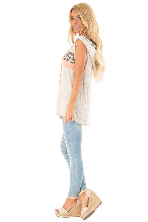 Oatmeal and Coral Hooded Tank Top with Leopard Contrast side full body