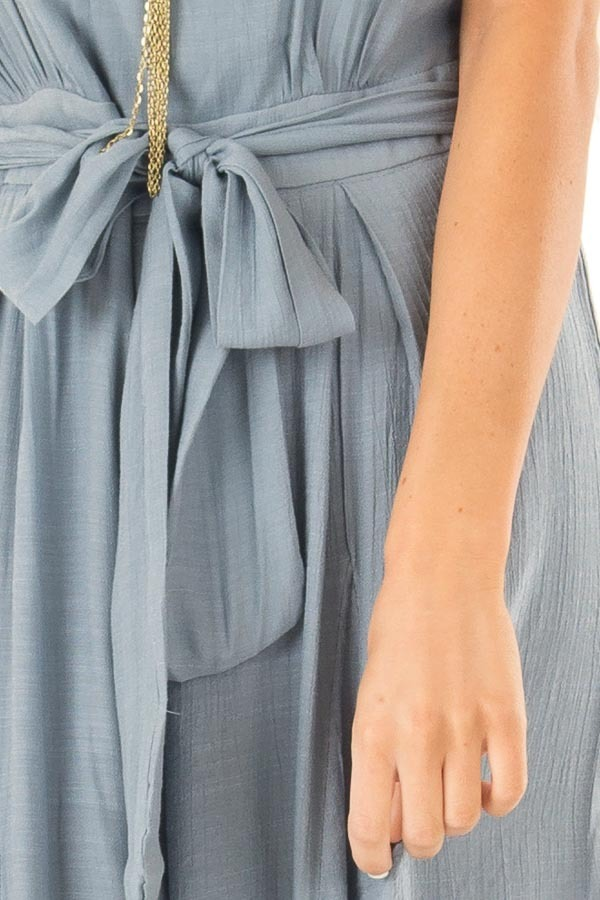 Steel Blue Jumpsuit with Wide Leg Side Slit Detail detail