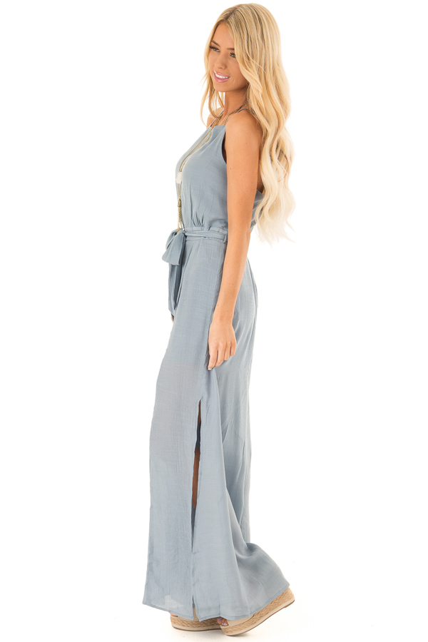 Steel Blue Jumpsuit with Wide Leg Side Slit Detail side full body