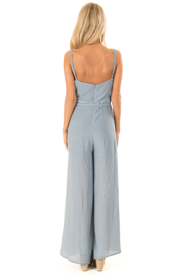 Steel Blue Jumpsuit with Wide Leg Side Slit Detail back full body