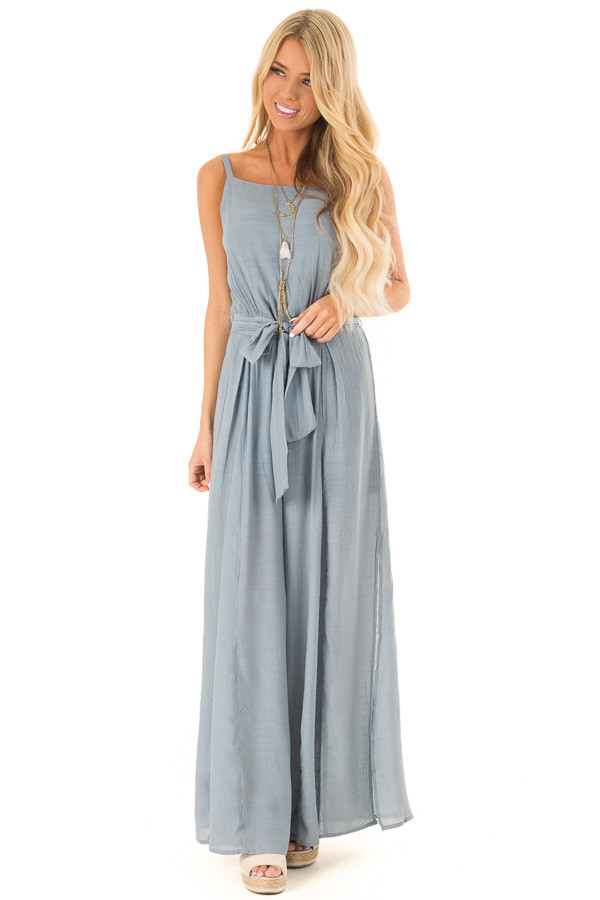 Steel Blue Jumpsuit with Wide Leg Side Slit Detail front full body