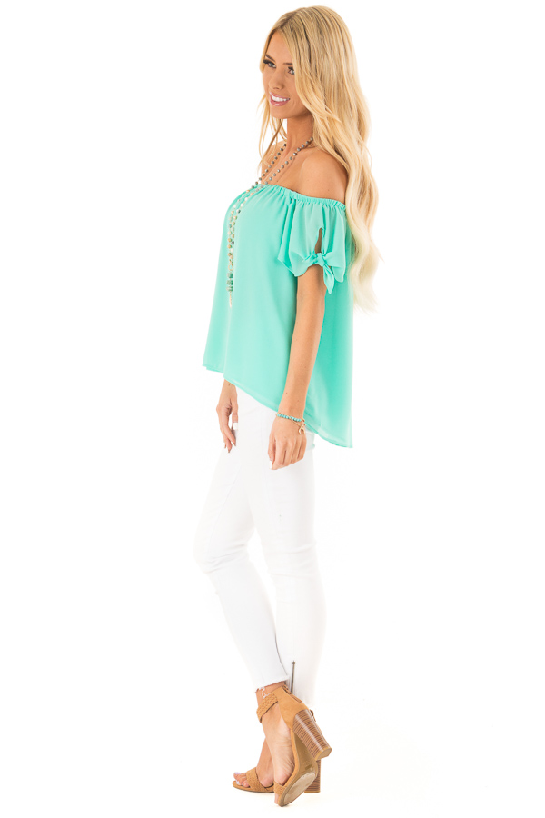 Ice Green Off the Shoulder Short Sleeve Top with Tie Detail side full body
