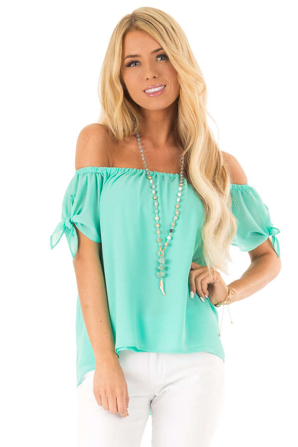 Ice Green Off the Shoulder Short Sleeve Top with Tie Detail front close up