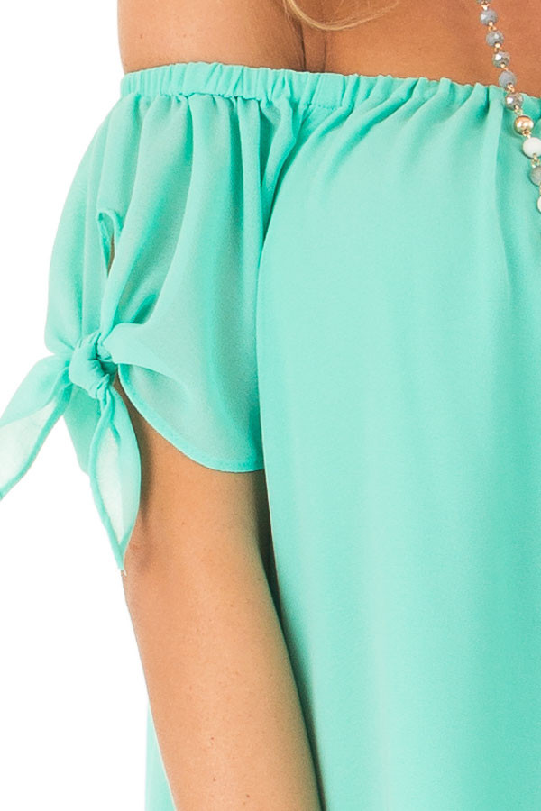 Ice Green Off the Shoulder Short Sleeve Top with Tie Detail detail