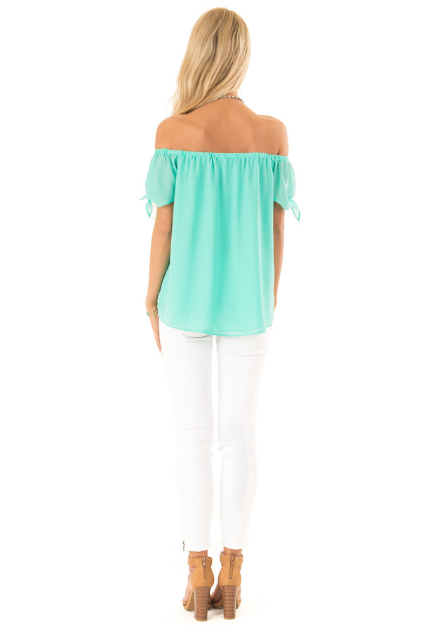 Ice Green Off the Shoulder Short Sleeve Top with Tie Detail back full body