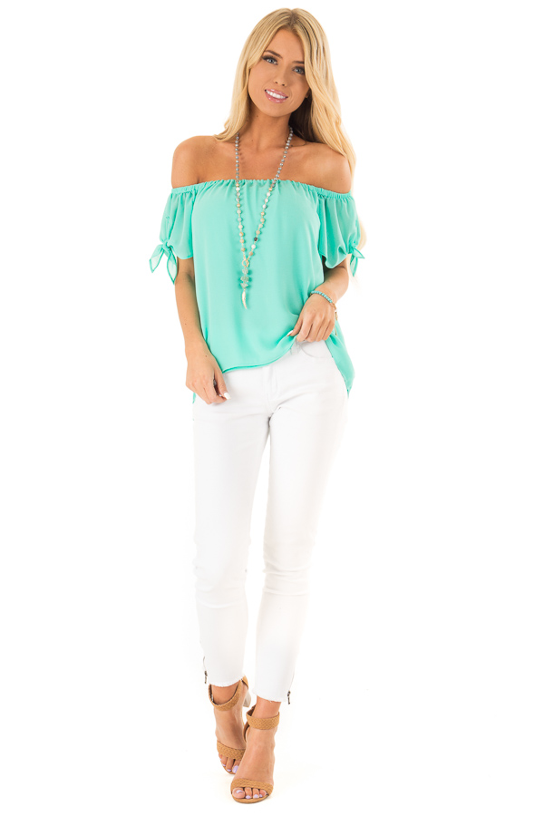 Ice Green Off the Shoulder Short Sleeve Top with Tie Detail front full body