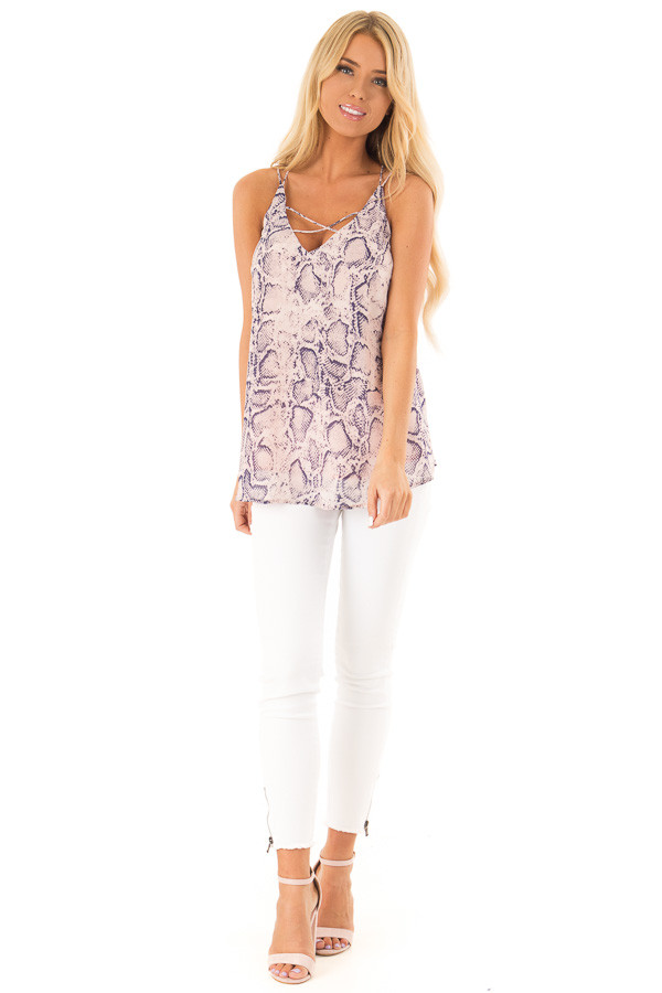 Blush Pink Snakeskin Print Tank Top with Criss Cross Straps front full body