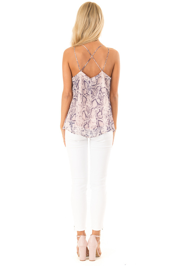 Blush Pink Snakeskin Print Tank Top with Criss Cross Straps back full body