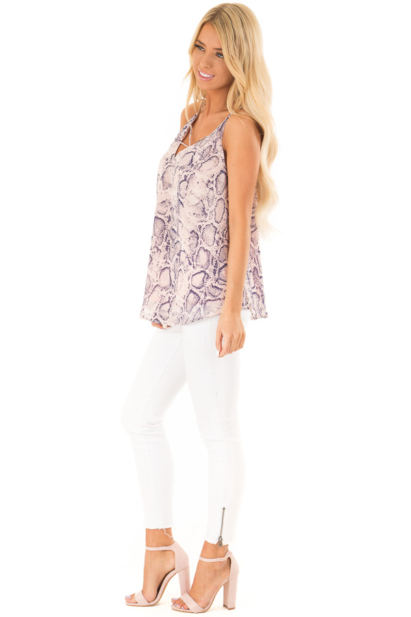 Blush Pink Snakeskin Print Tank Top with Criss Cross Straps side full body