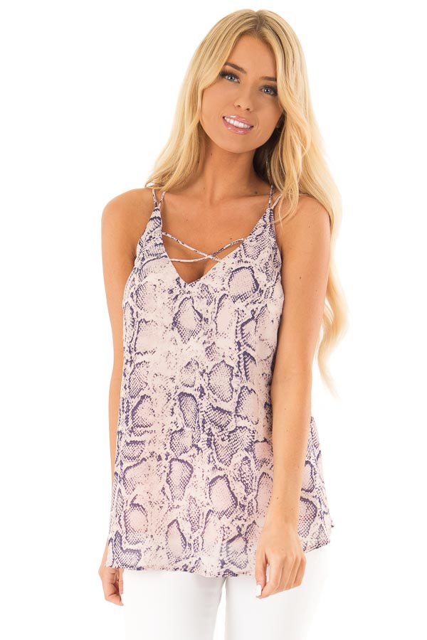 Blush Pink Snakeskin Print Tank Top with Criss Cross Straps front close up