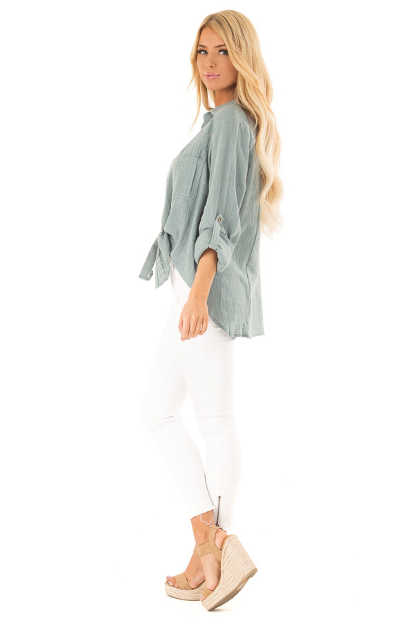 Faded Aqua Woven Button Up Top with Front Tie Detail side full body