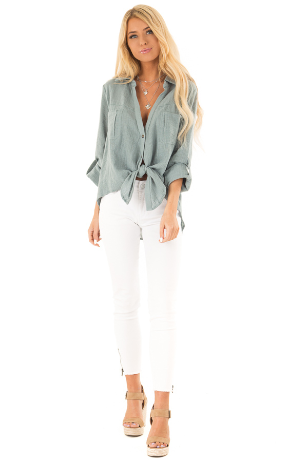 Faded Aqua Woven Button Up Top with Front Tie Detail front full body
