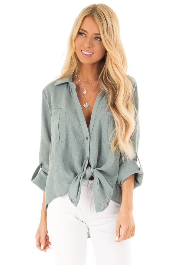 Faded Aqua Woven Button Up Top with Front Tie Detail front close up