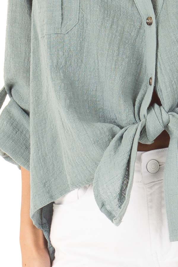 Faded Aqua Woven Button Up Top with Front Tie Detail detail