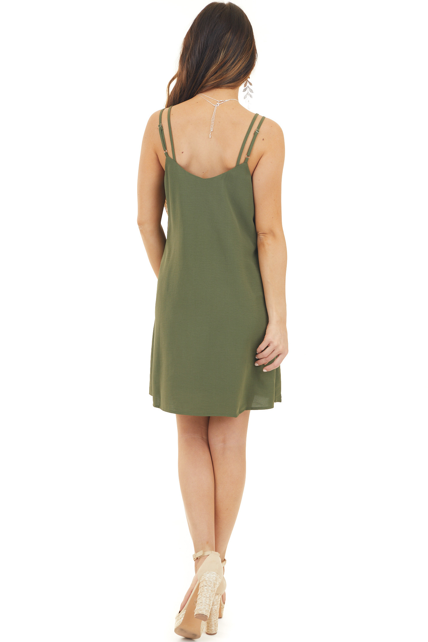 Olive Green Spaghetti Strap Shift Dress with Neck Tie Detail