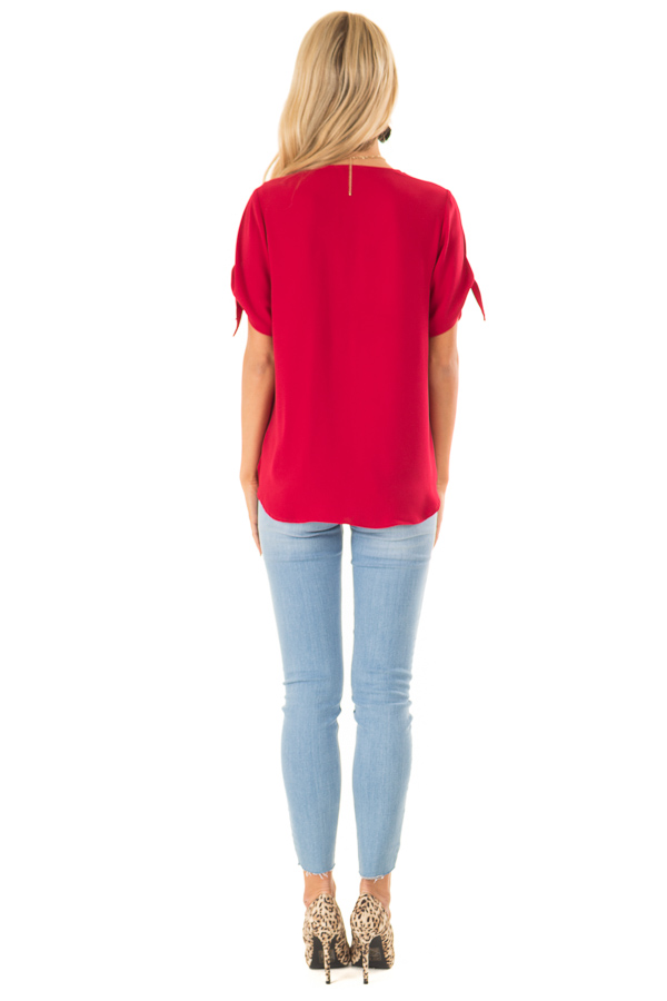 Crimson Red Crossover Top with Short Sleeve Tie Detail back full body
