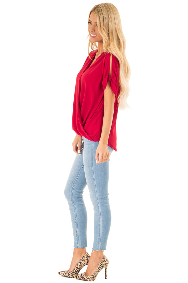 Crimson Red Crossover Top with Short Sleeve Tie Detail side full body