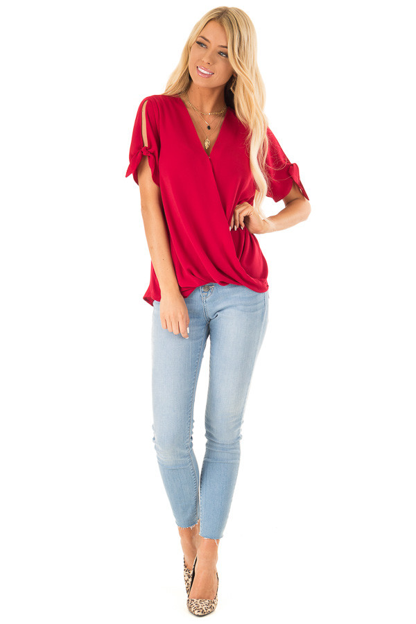Crimson Red Crossover Top with Short Sleeve Tie Detail front full body